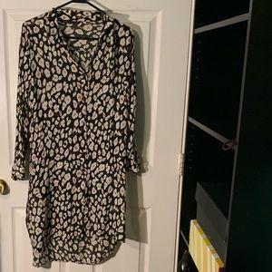 Zara Shirt Dress in Animal Print Pattern